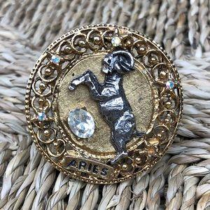 Vintage Aries Ram Astrology Zodiac Pin Brooch